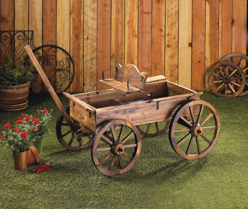 rustic western backboard style wagon cart rolling wheels garden, Garden idea