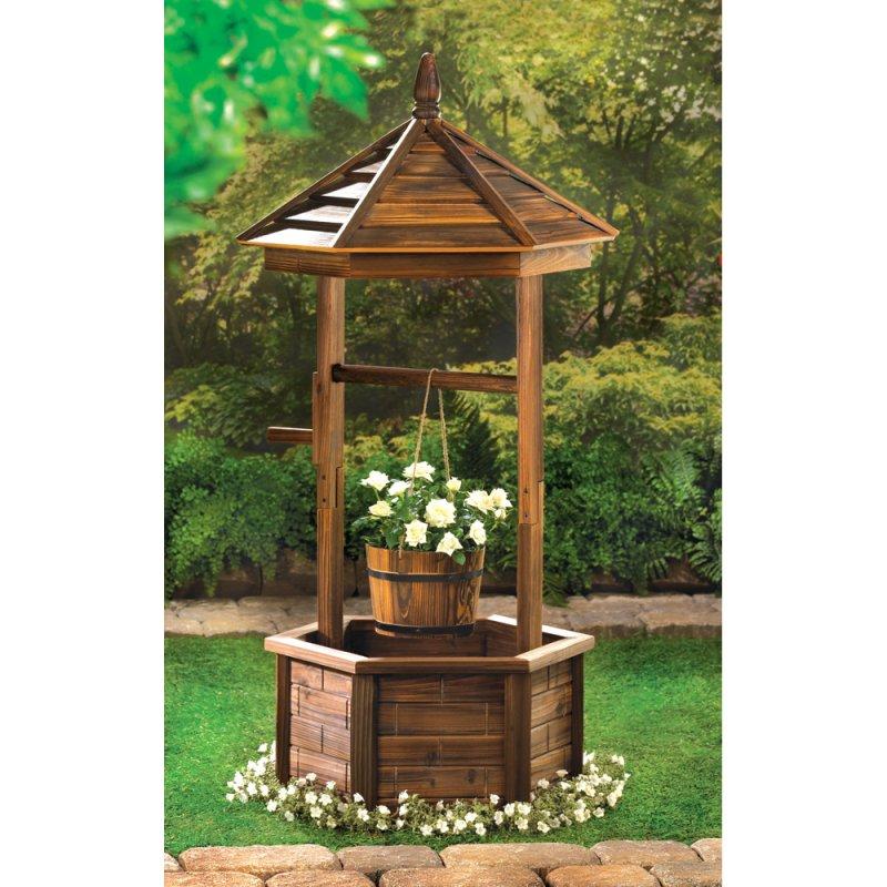 Image 0 of Rustic Wood Wishing Well Outdoor Flowerpot Planter Garden Patio Decor