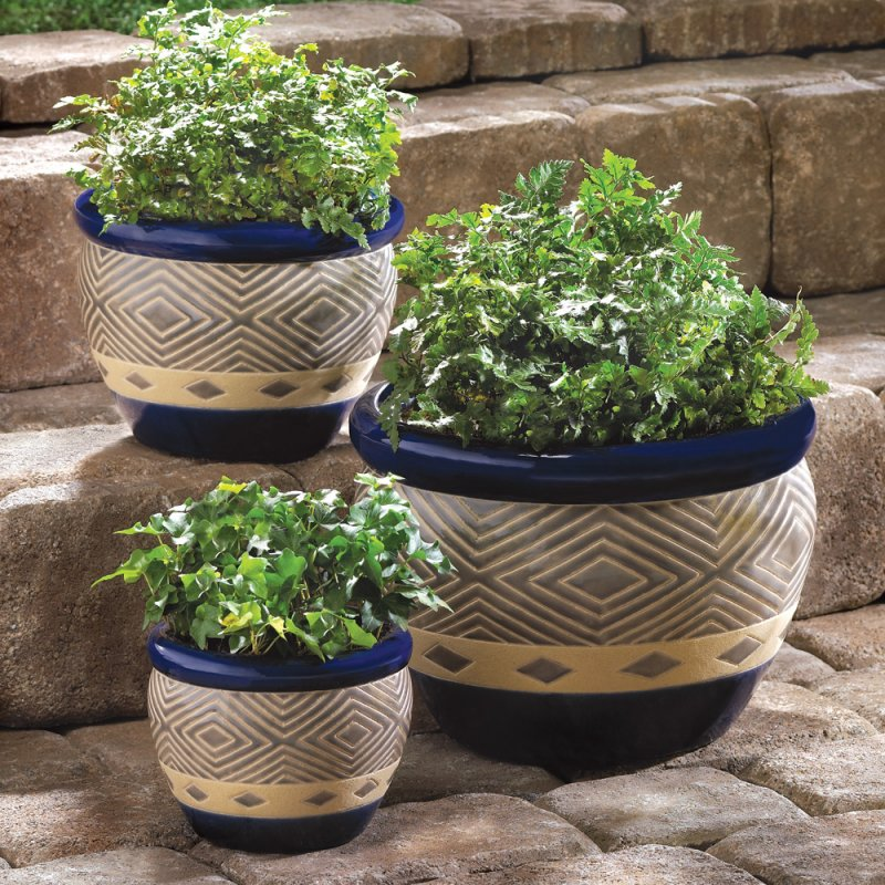 Image 1 of Set of 3 Colbalt Blue & Sand Decorative Planter Set