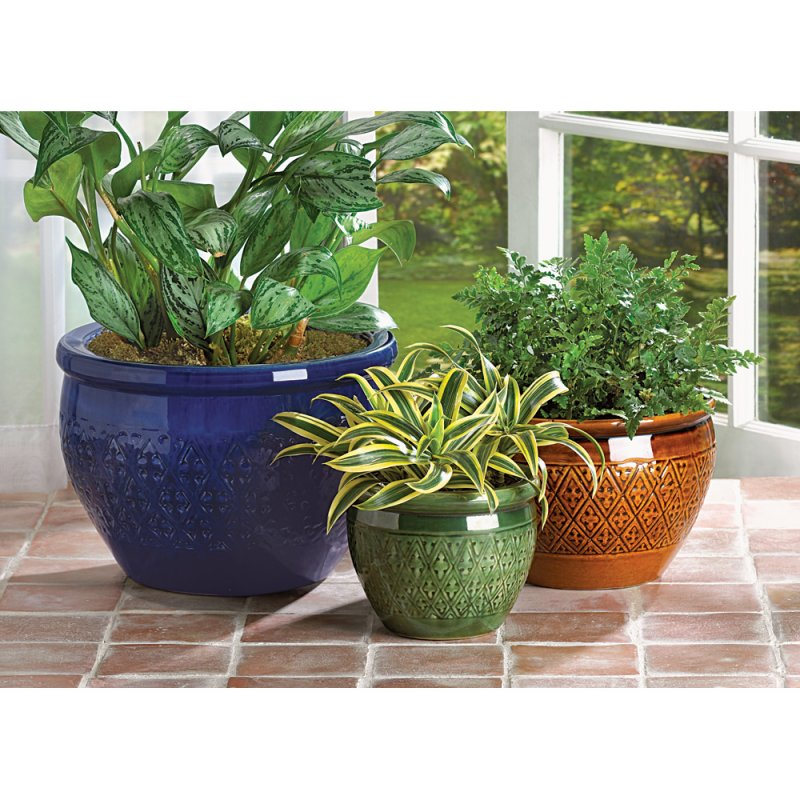 Image 1 of Set of 3 Jewel Toned Earthenware Flower Pots Planters