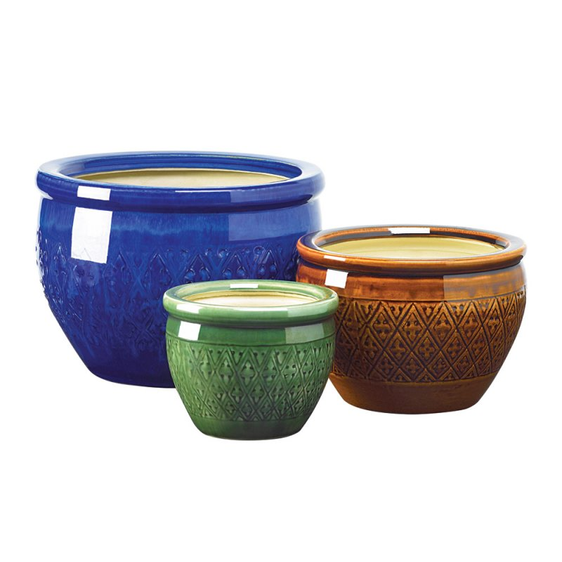 Image 0 of Set of 3 Jewel Toned Earthenware Flower Pots Planters
