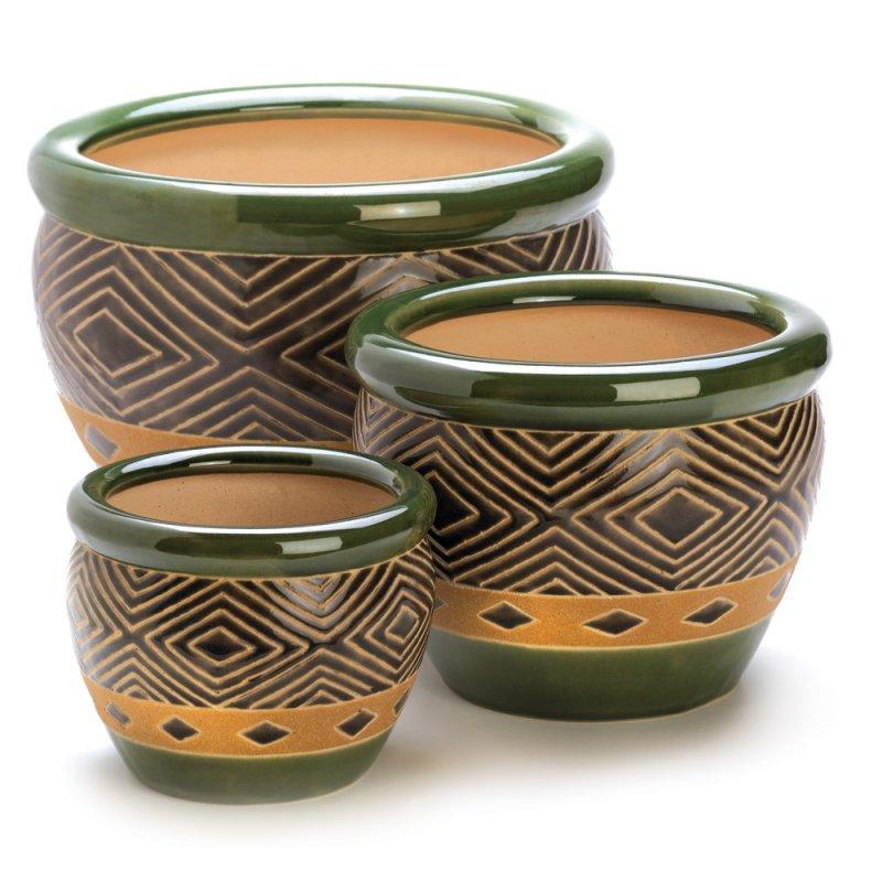 Image 1 of Set of 3 Shades of Jade & Sand Decorative Planter Set