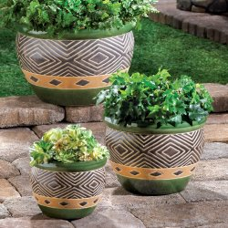Set of 3 Shades of Jade & Sand Decorative Planter Set