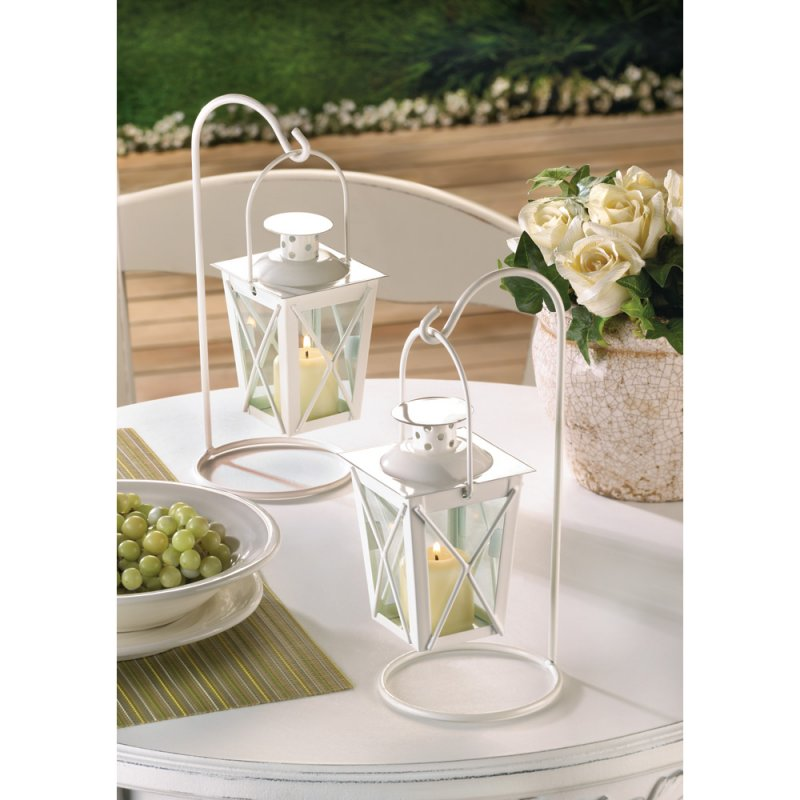 Image 0 of Set of Two White Romantic Candle Lanterns on Stands