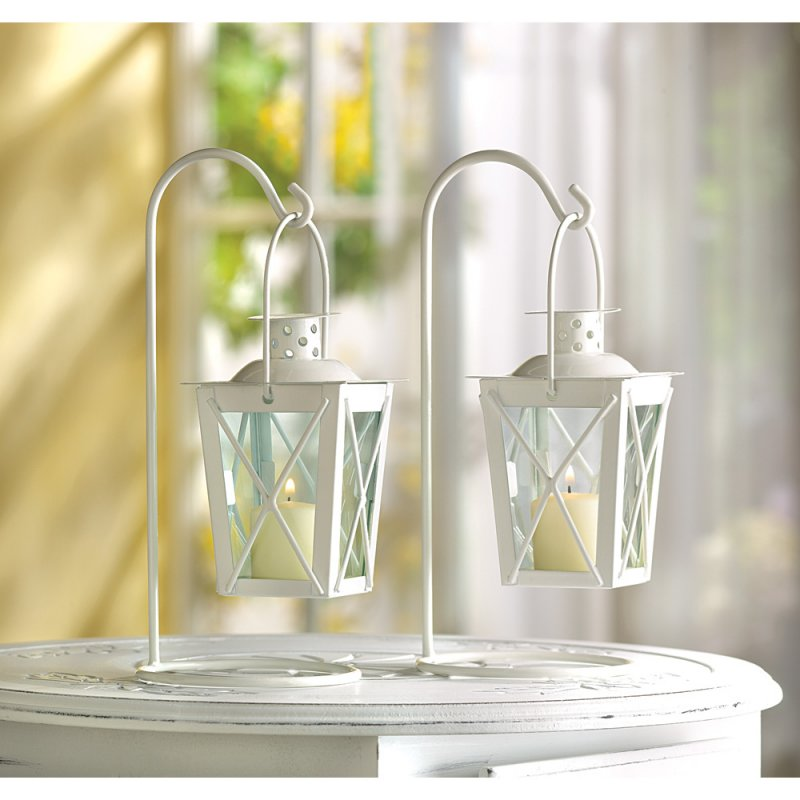 Image 1 of Set of Two White Romantic Candle Lanterns on Stands