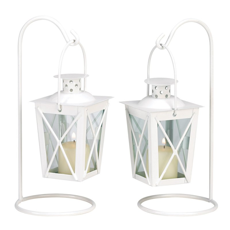 Image 2 of Set of Two White Romantic Candle Lanterns on Stands