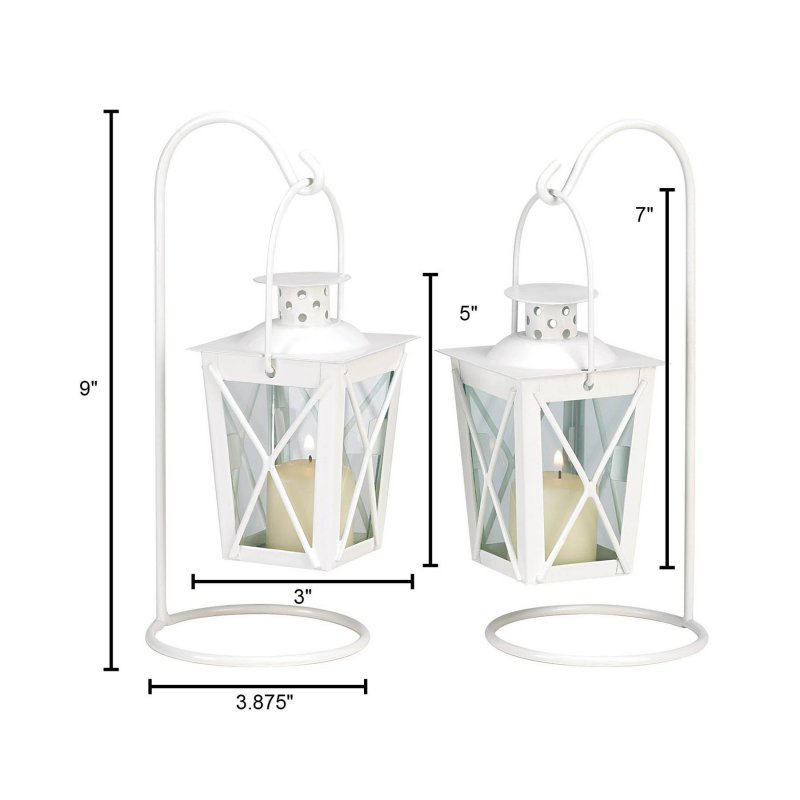 Image 3 of Set of Two White Romantic Candle Lanterns on Stands