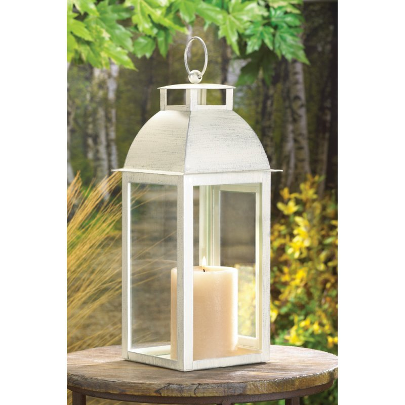 Image 0 of Sleek Contemporary Design Distressed Ivory Candle Lantern