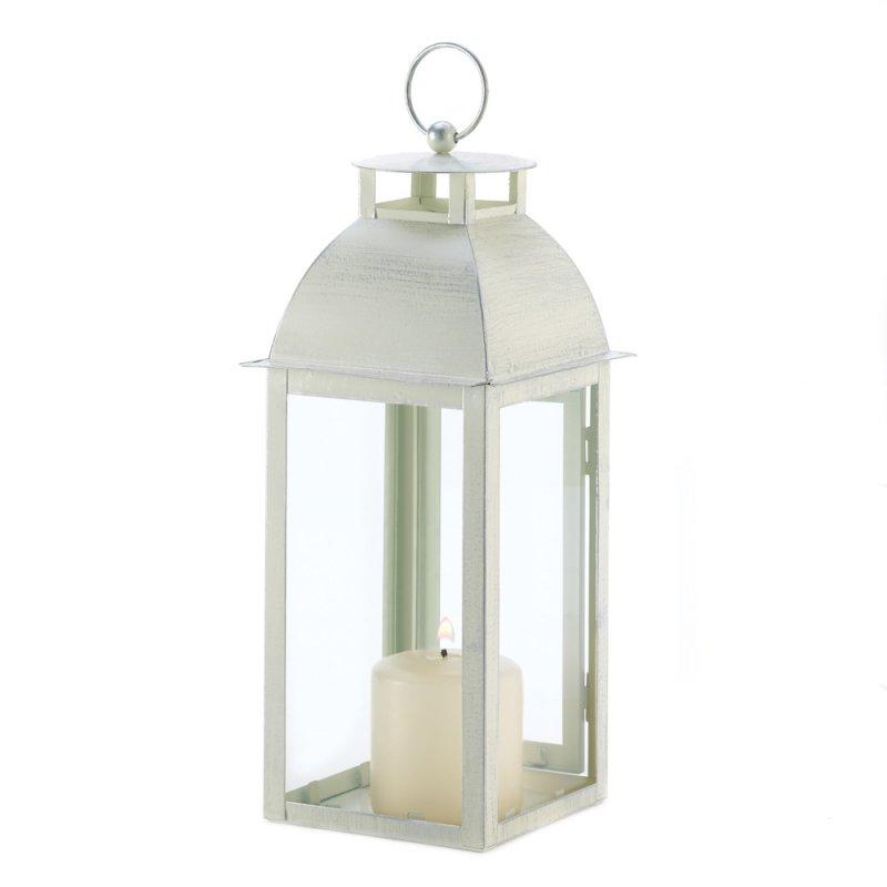 Image 1 of Sleek Contemporary Design Distressed Ivory Candle Lantern