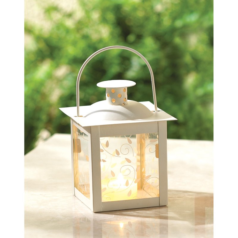 Image 0 of Small Ivory Vine Design Tabletop Candle Lantern