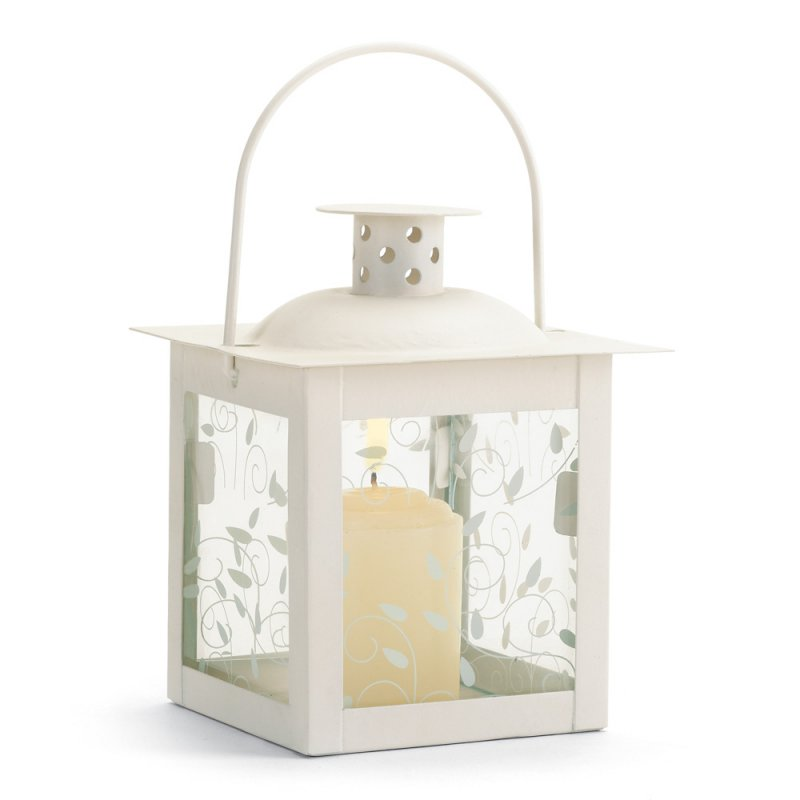 Image 1 of Small Ivory Vine Design Tabletop Candle Lantern