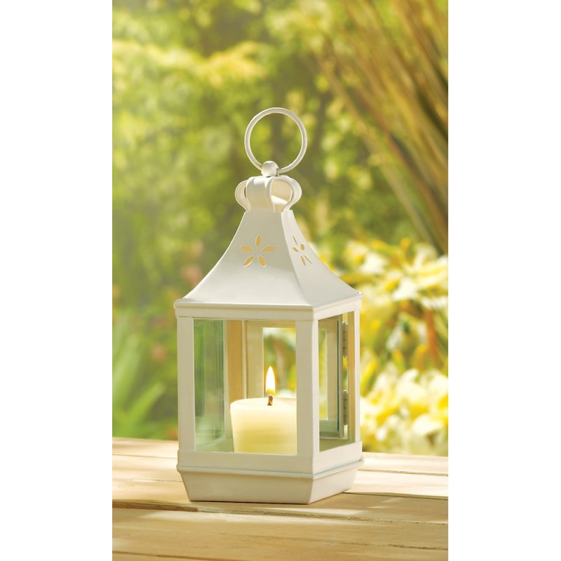 Small White Square Garden Candle Lantern Wedding Centerpiece