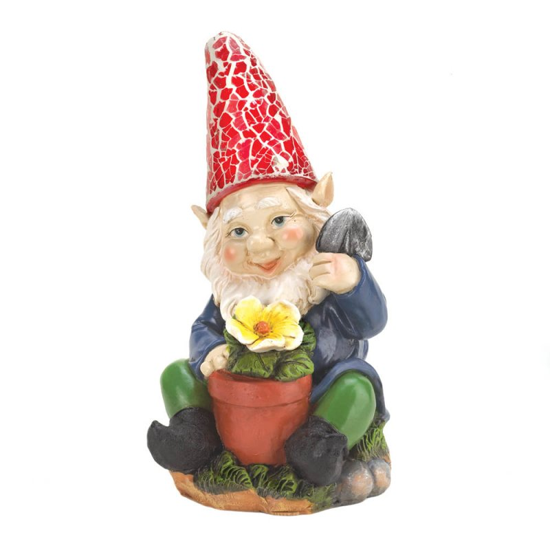 Image 3 of Solar Gardening Gnome with Flowerpot Red Solar Hat Lights Up