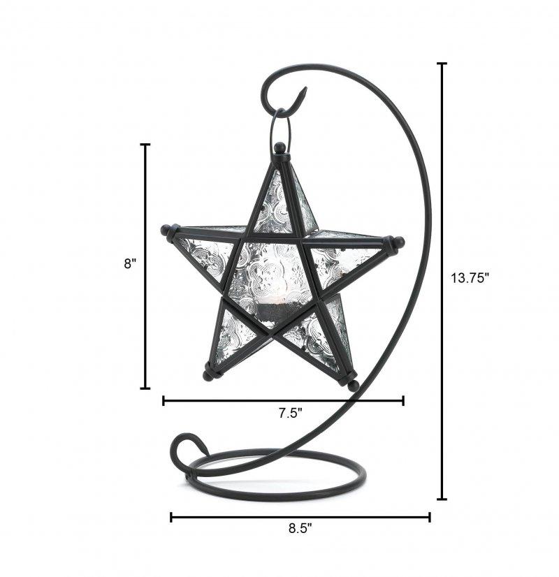 Image 2 of Starlight Star Lantern on Swirl Black Iron Stand