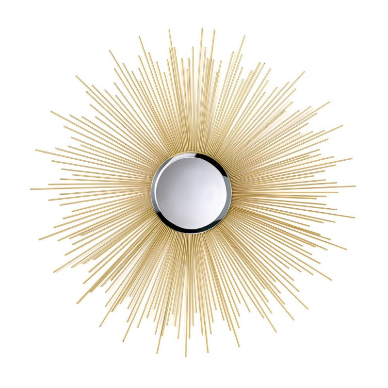 Image 1 of Stunning Golden Rays Decorative Beveled Mirror Inset Wall Decor
