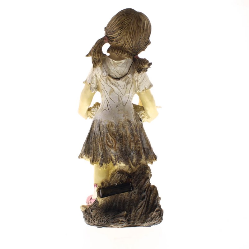 Image 2 of Sweet Summertime Girl with Basket Solar Garden Statue