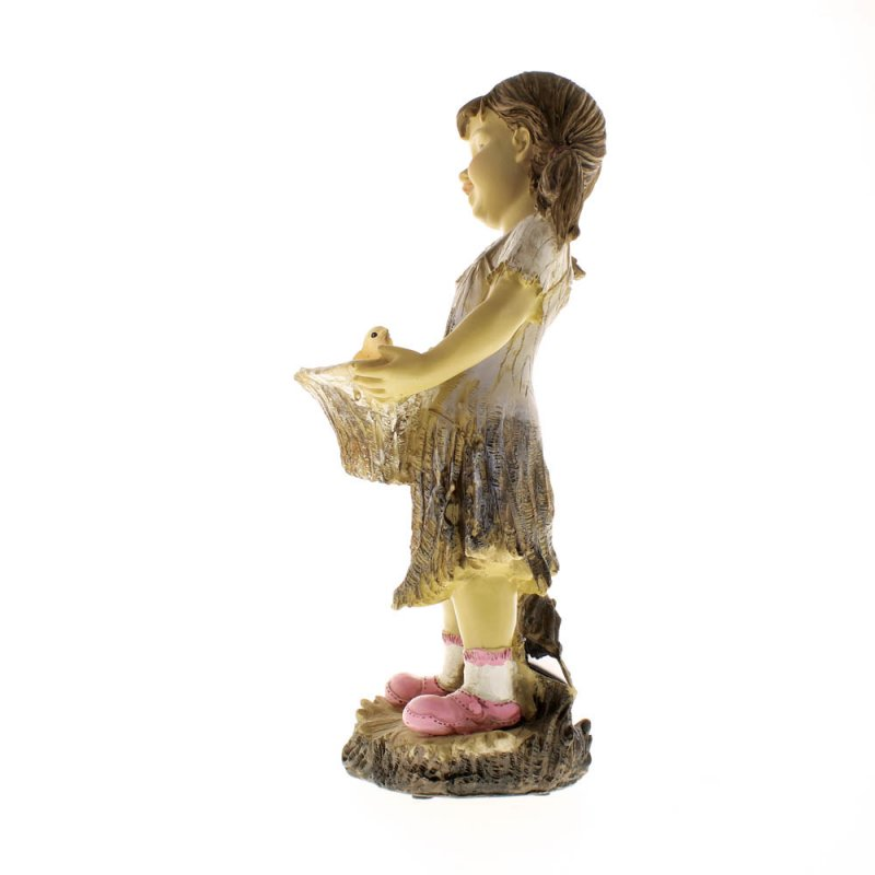 Image 5 of Sweet Summertime Girl with Basket Solar Garden Statue