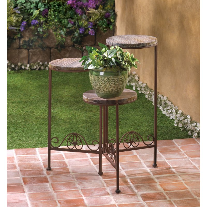 Image 1 of Weathered Wood and Rustic Finish Triple Folding Planter Stand