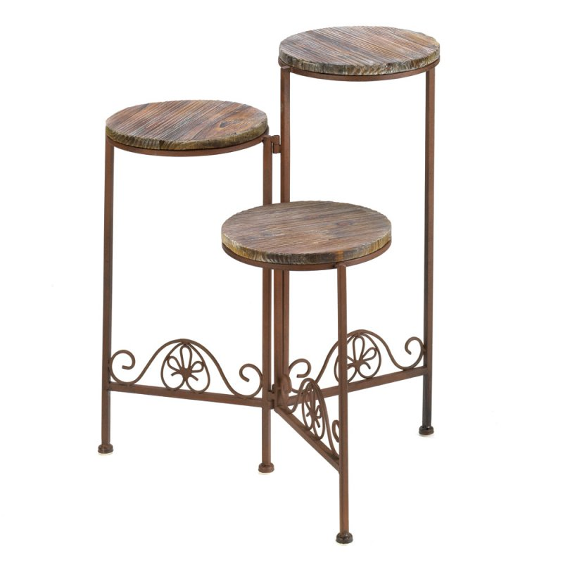 Image 0 of Weathered Wood and Rustic Finish Triple Folding Planter Stand