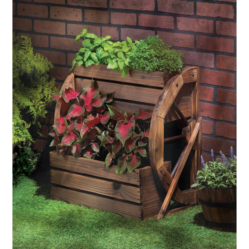 Image 0 of Western Wagon Wheel Double-Tier Country Planter