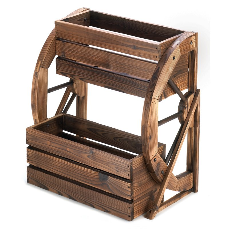 Image 1 of Western Wagon Wheel Double-Tier Country Planter