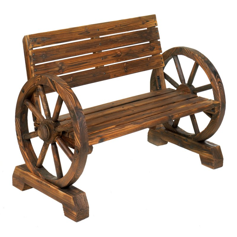 Image 1 of Western Wagon Wheel Patio Bench
