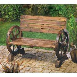 Western Wagon Wheel Patio Bench