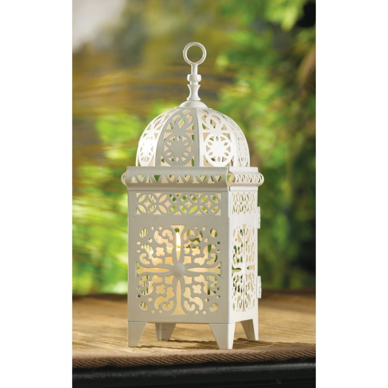 Image 1 of White Scrollwork Metal Candle Lantern
