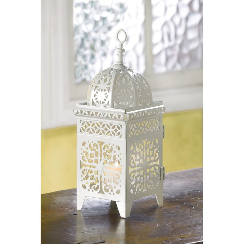 Image 2 of White Scrollwork Metal Candle Lantern