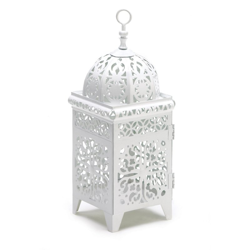 Image 0 of White Scrollwork Metal Candle Lantern