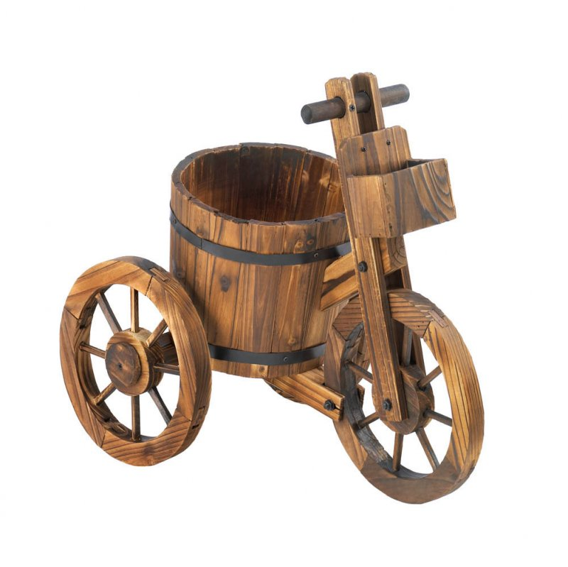 Image 1 of Wooden Barrel Tricycle Planter Lawn, Patio Decor