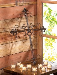 Slender Wrought Iron Curves w/ Fleur de Lis & Lone Star in Center Wall Cross