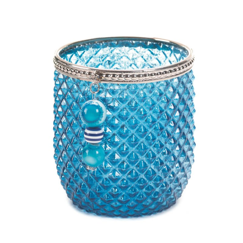 Image 0 of Diamond Pattern Dominion Teal Blue Glass Votive Candle Holder with Silver Trim