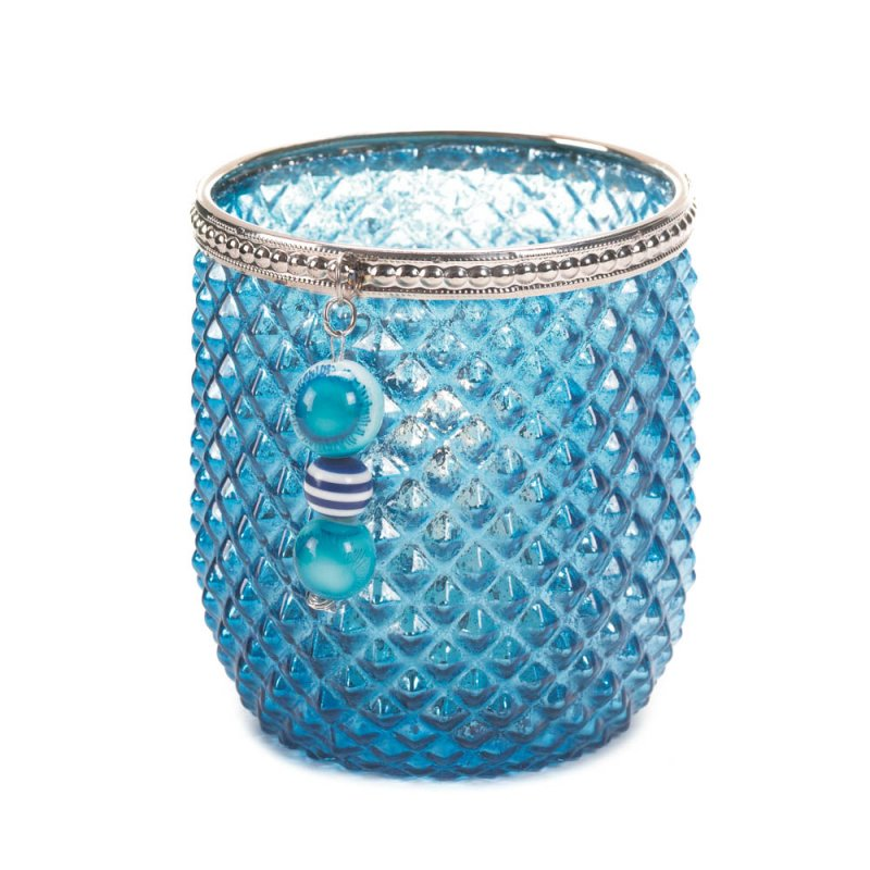 Image 1 of Diamond Pattern Dominion Teal Blue Glass Votive Candle Holder with Silver Trim