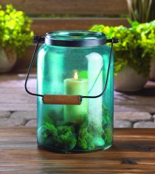 Country Style Blue Glass Candle Lantern Use Indoors or Outdoor