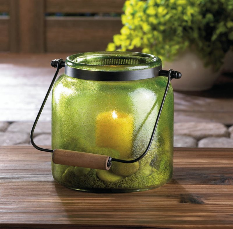 Image 0 of Country Style Apple Green Glass Candle Lantern Use Indoors or Outdoor