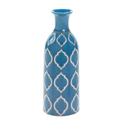 Merit Sky Blue with White Geometric Pattern Decorative Vase