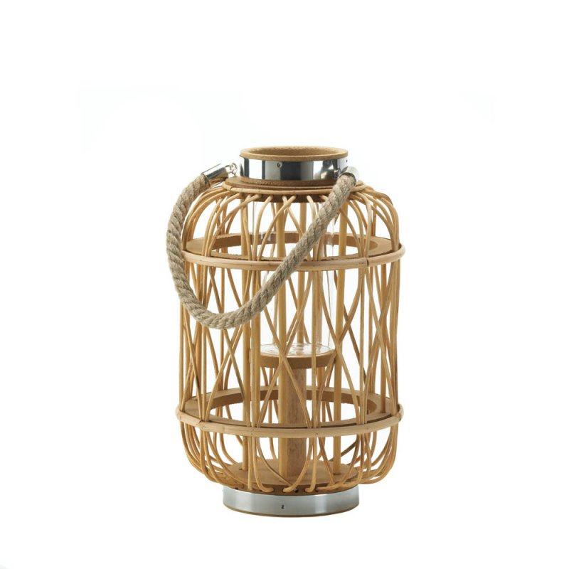 Image 0 of Medium Woven Rattan Pillar Candle Lantern with Glass Hurricane Candle Holder
