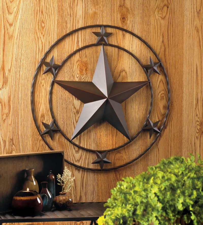 Image 0 of Western Stars Iron Wall Decor Large Star in Center Surrounded by 6 Smaller Stars