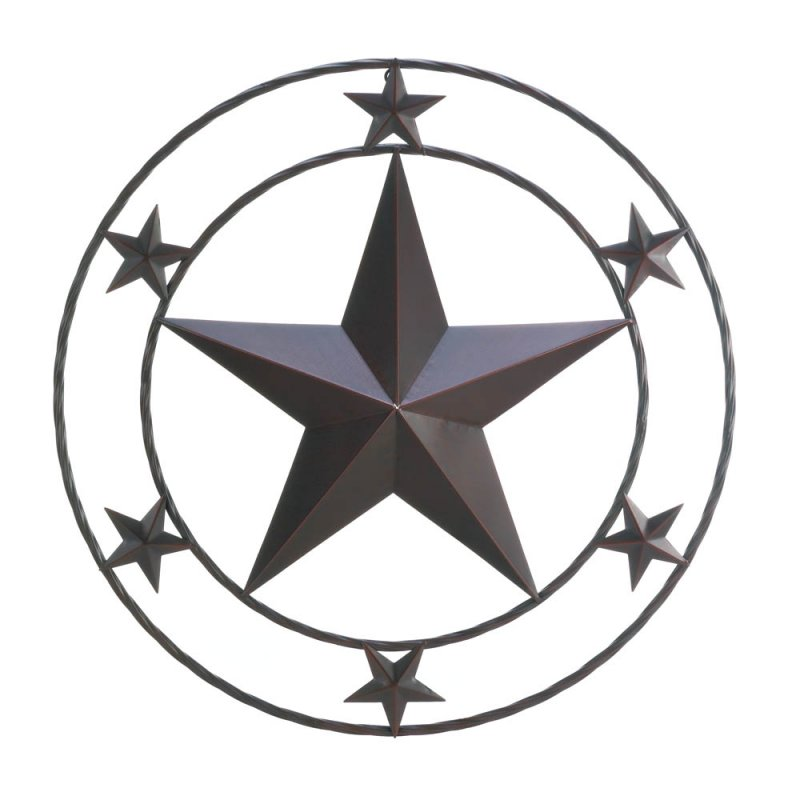 Image 1 of Western Stars Iron Wall Decor Large Star in Center Surrounded by 6 Smaller Stars