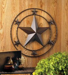 Western Stars Iron Wall Decor Large Star in Center Surrounded by 6 Smaller Stars