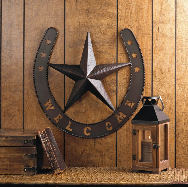 Image 0 of Western Country Lonestar Welcome Plaque Shaped Like a Horseshoe