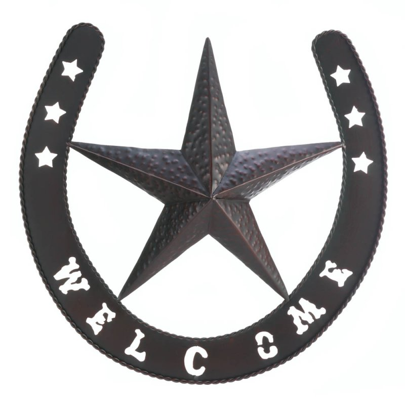 Image 1 of Western Country Lonestar Welcome Plaque Shaped Like a Horseshoe