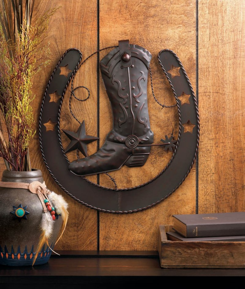 Image 0 of Western Cowboy Boot with Spurs Inside Horseshoe Wall Plaque Decorated with Stars