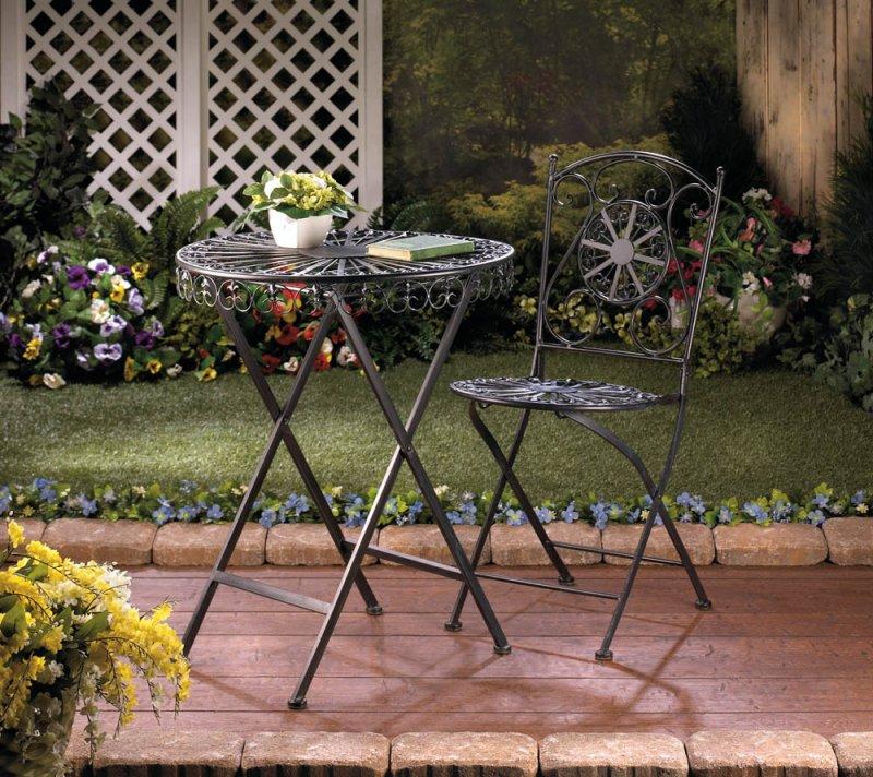 Image 0 of Black Cast Iron Patio Table with Fleur De Lis Design Tabletop
