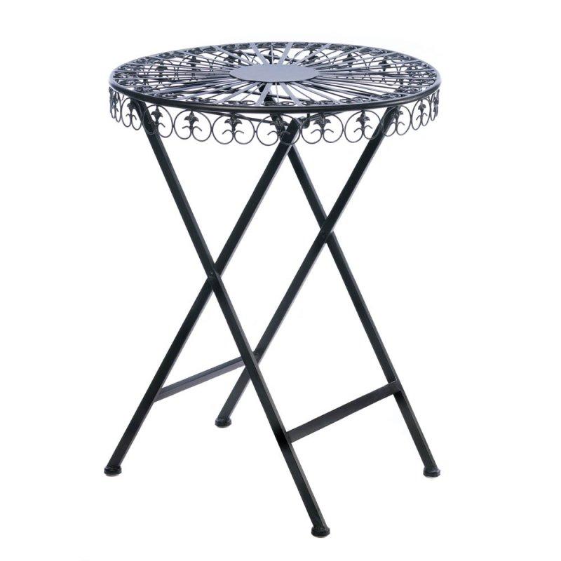 Image 1 of Black Cast Iron Patio Table with Fleur De Lis Design Tabletop