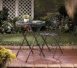 Black Cast Iron Patio Table with Fleur De Lis Design Tabletop