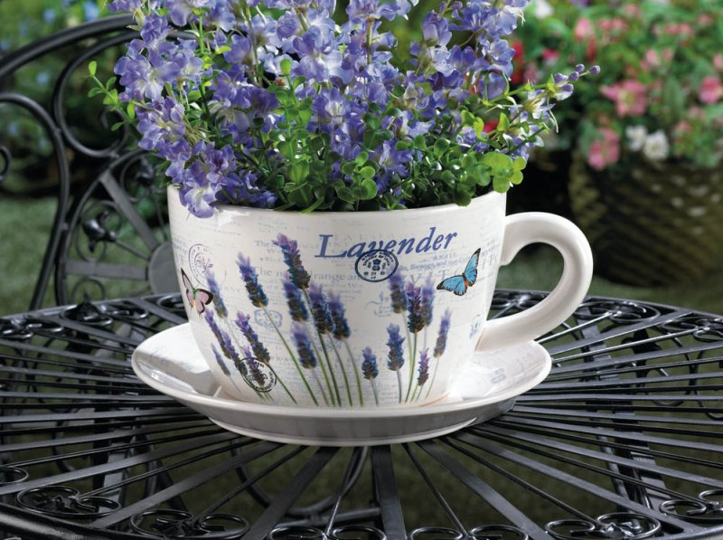 Image 0 of Lavender & Butterfly Theme Teacup & Saucer Planter Drain Hole Bottom of Teacup