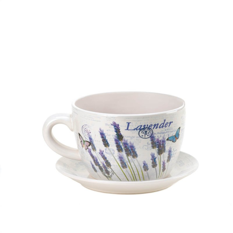 Image 1 of Lavender & Butterfly Theme Teacup & Saucer Planter Drain Hole Bottom of Teacup