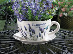 Lavender & Butterfly Theme Teacup & Saucer Planter Drain Hole Bottom of Teacup